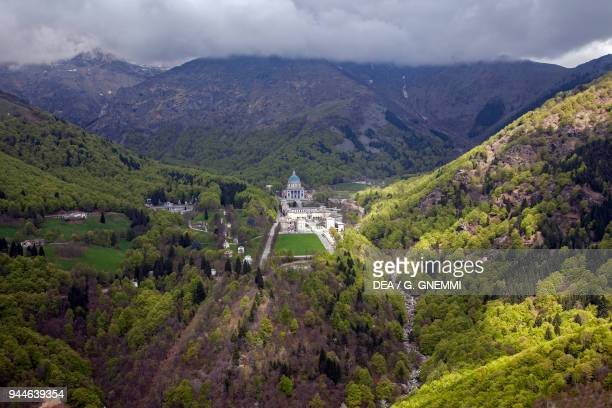 Aerial view of the sanctuary of Oropa Biella Piedmont Italy