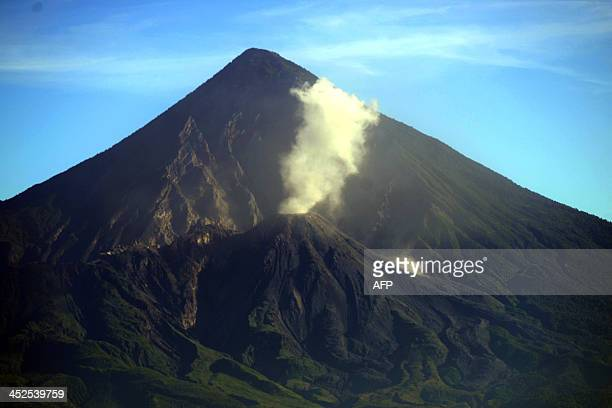 Aerial view of the Santiaguito volcano located in El Palmar municipality Quetzaltenango departament 210 km west of Guatemala City on November 29 2013...