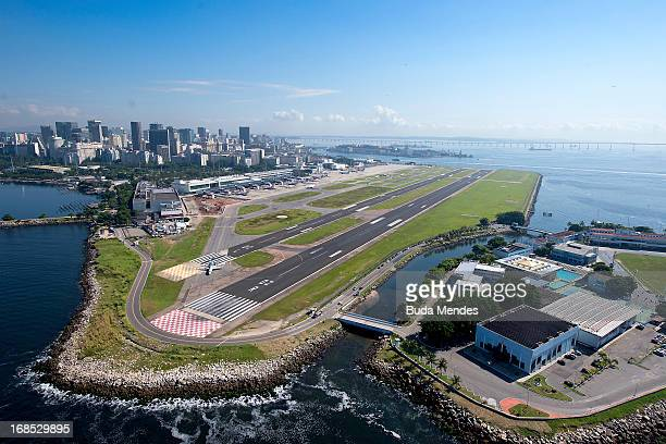 Aerial view of the Santos Dumont Airport on May 10 2013 in Rio de Janeiro Brazil