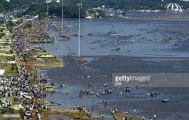 Aerial view of the scene at the Marina beach in Madras 26 December 2004 after tidal waves hit the region Tidal waves devastated the south Indian...