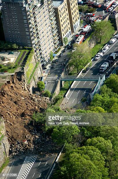 Aerial view of the scene on the Henry Hudson Parkway at 181st St after a 60foothigh centuryold stone retaining wall bordering the drive collapsed and...