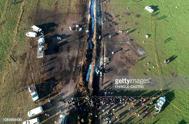 Aerial view of the scene where a massive blaze trigerred by a leaky pipeline took place the night before in Tlahuelilpan Hidalgo state Mexico on...