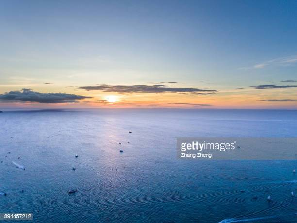 Aerial View of the sea sunset