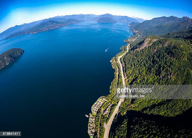 Aerial view of the Sea to Sky Highway