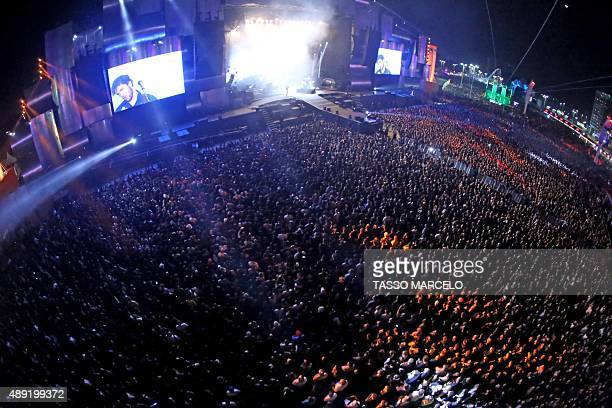 Aerial view of the second day of the Rock in Rio music festival at the City of Rock park in Rio de Janeiro Brazil on September 19 2015 AFP PHOTO /...