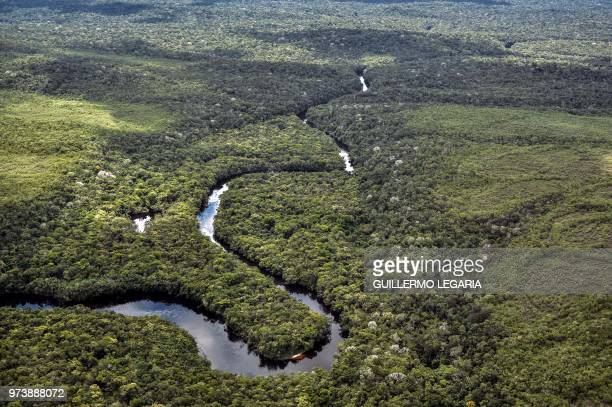 Aerial view of the Serrania de Chiribiquete located in the Amazonian jungle departments of Caqueta and Guaviare Colombia on June 7 2018 The...
