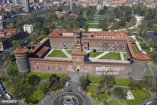 Aerial view of the Sforza Castle Milan Lombardy Italy 14th15th century