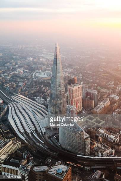 aerial view of the shard at sunset, london - built structure stock pictures, royalty-free photos & images