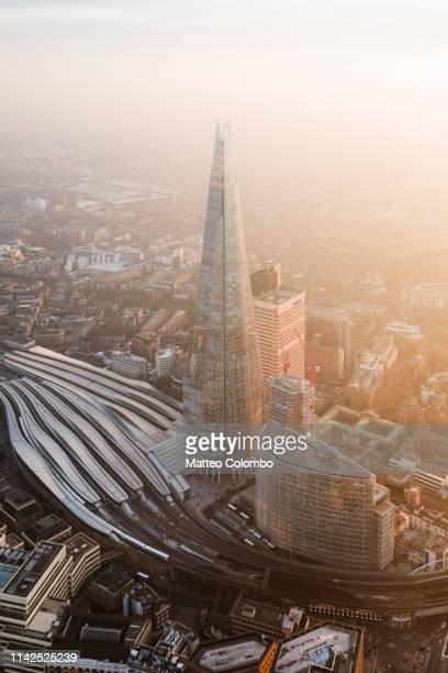 aerial view of the shard at sunset, london, uk - capital cities stock pictures, royalty-free photos & images
