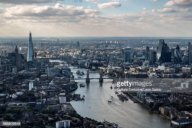 Aerial view of the Shard, Tower Bridge, Walkie Talkie, Gherkin and River Thames, London, UK