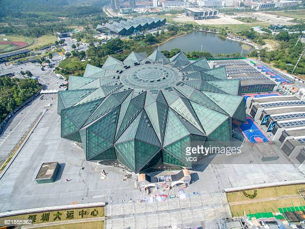 Aerial view of the Shenzhen Universiade Sports Centre which is decorated for the 1111 Global Shopping Festival on November 6 2016 in Shenzhen...