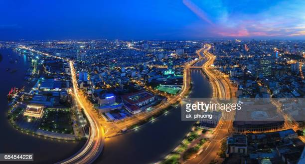 Aerial view of the shimmering lights at Ho Chi Minh City, Vietnam