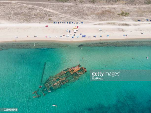 Aerial view of the shipwreck beach of Epanomi near Potamos and sandbank beach in a nature reserve Epanomi is a little town near Thessaloniki Greece...