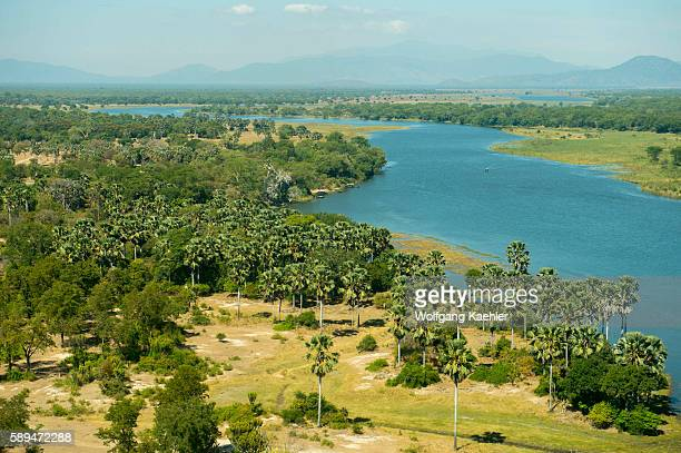 Aerial view of the Shire River in Liwonde National Park Malawi