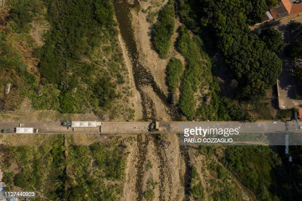 Aerial view of the Simon Bolivar International Bridge over the Tachira river on the border between Cucuta Colombia and San Antonio del Tachira...