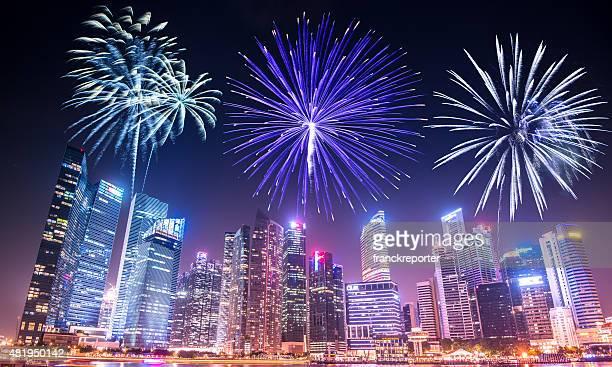 空から見たシンガポールのスカイラインとマリーナベイ