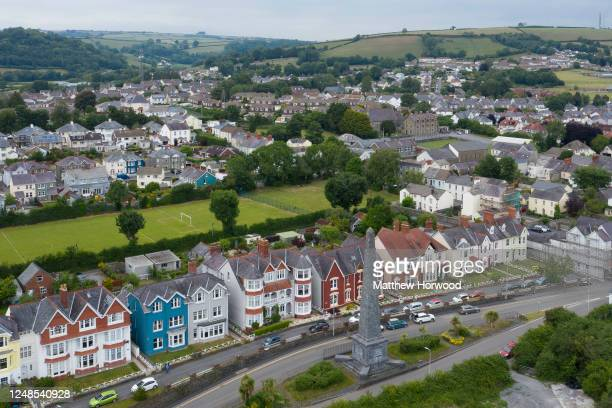A aerial view of the Sir Thomas Picton obelisk on Picton Terrace on June 09 2020 in Carmarthen United Kingdom Campaigns have been launched in Cardiff...