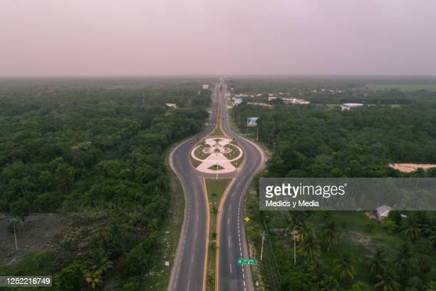 Aerial view of the sky with a red hue due to the arrival of the Sahara dust in the Chetumal area on June 24, 2020 in Quintana Roo, Mexico. The...