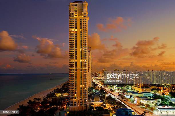 aerial view of the skyline in Miami, Florida at sunset
