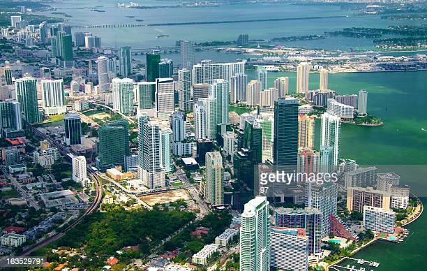 aerial view of the skyline in miami, florida. - downtown miami stock pictures, royalty-free photos & images