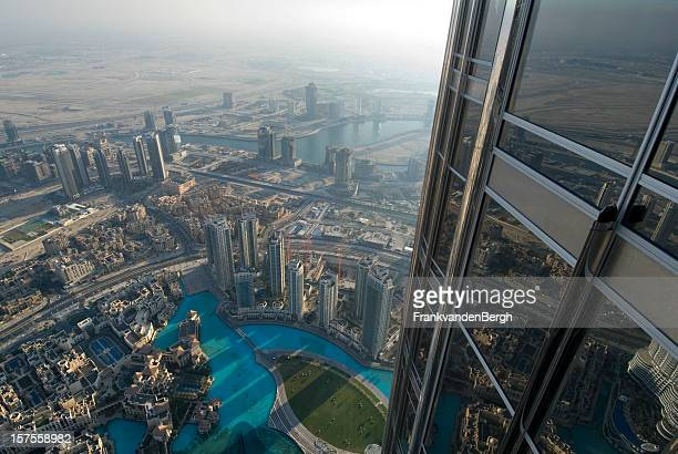aerial view of the skyline of dubai - on top of stock pictures, royalty-free photos & images