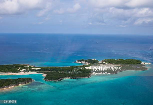 Aerial view of the small atolls lagoon islands and islands of the Exumas seen from an airplane on June 15 2012 in The Bahamas