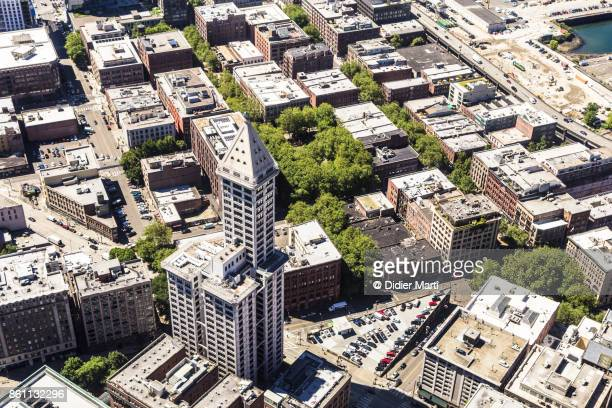 Aerial view of the Smith Tower in Seattle