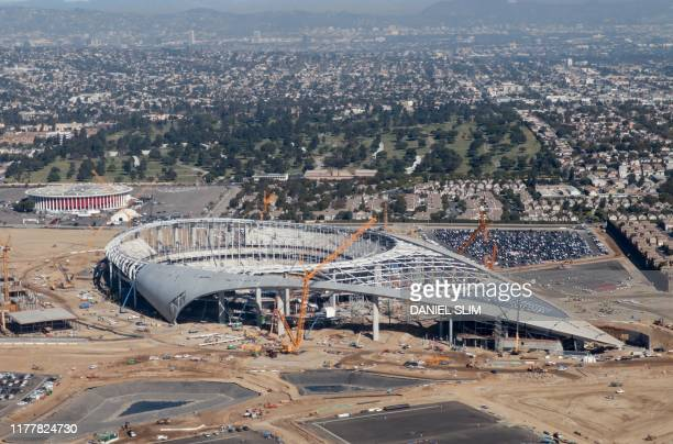 Aerial view of the SoFi Stadium, still under construction, future home of the Rams and Chargers in Inglewood, California on October 23, 2019.