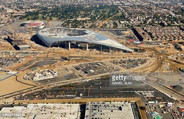 Aerial view of the SoFi Stadium, still under construction, future home of the Rams and Chargers in Inglewood, California on February 6, 2020.