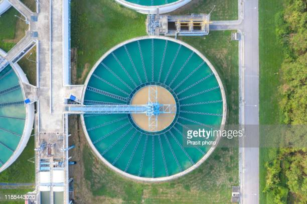 aerial view of the solid contact clarifier tank type sludge recirculation in water treatment plant - water conservation stock pictures, royalty-free photos & images