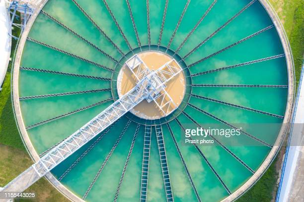 aerial view of the solid contact clarifier tank type sludge recirculation in water treatment plant - chemical stock pictures, royalty-free photos & images