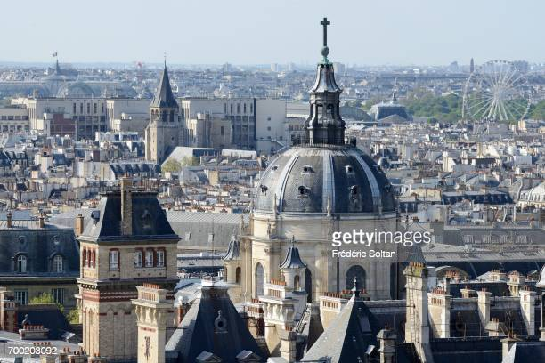 Aerial view of the Sorbonne district in the heart of the capital at Paris on June 16 2017 in Paris France