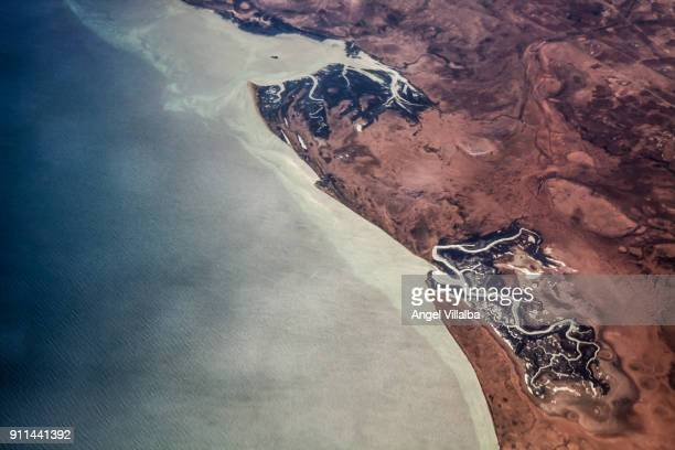 aerial view of the south coast of tunisia - north africa stock photos and pictures