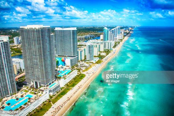 aerial view of the south florida coastline - miami florida stock pictures, royalty-free photos & images