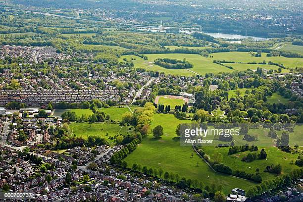 aerial view of the south of manchester - greater manchester stock pictures, royalty-free photos & images