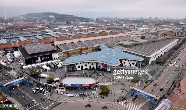 Aerial view of the southern entrance of the Barcelona Mobile World Congress 2018 The Mobile World Congress 2018 is being hosted in Barcelona from 26...