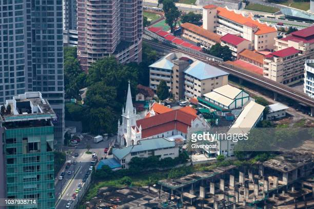 aerial view of the st. anthony's church in kuala lumpur - gwengoat stock pictures, royalty-free photos & images