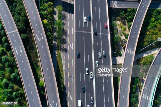 Aerial view of the Stack Interchange at Shanghai China,taken by drone