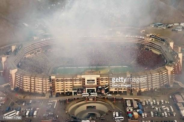Aerial view of the stadium after Flamengo's win the final match of Copa CONMEBOL Libertadores 2019 between Flamengo and River Plate at Estadio...