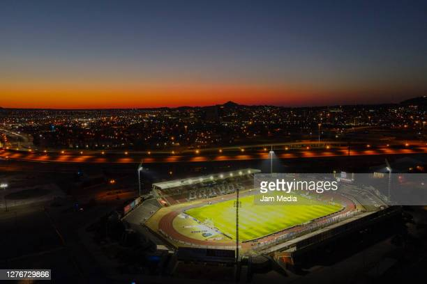 Aerial view of the stadium during the 12th round match between FC Juarez v Atlas as part of the Torneo Guard1anes 2020 Liga MX at Olimpico Benito...