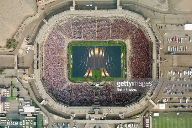 Aerial view of the stadium during the pregame show prior to the final match of Copa CONMEBOL Libertadores 2019 between Flamengo and River Plate at...