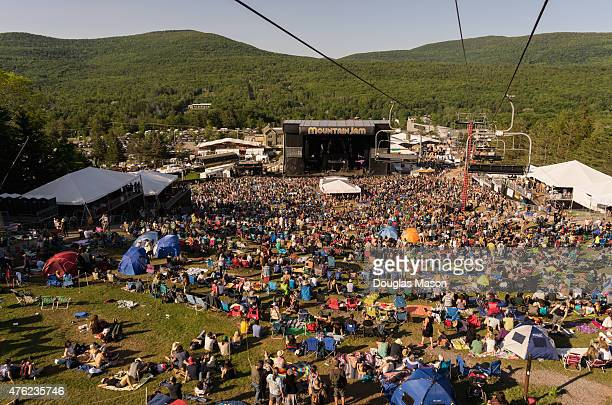 Aerial view of the stage and crowd during Mountain Jam 2015 at Hunter Mountain on June 5 2015 in Hunter New York