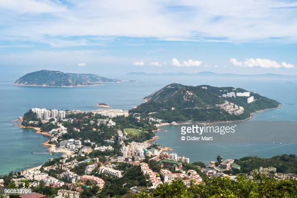 Aerial view of the Stanley peninsula and Stanley coastal town in Hong Kong island