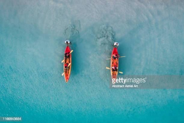 aerial view of the start of a kayak race, barbados - tourism stock pictures, royalty-free photos & images