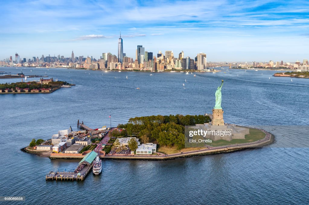 aerial view of the statue Liberty island in front of Manhattan skyline. New York. USA : Stock Photo