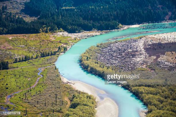 aerial view of the stave river, british columbia, canada. - drainage_basin stock pictures, royalty-free photos & images