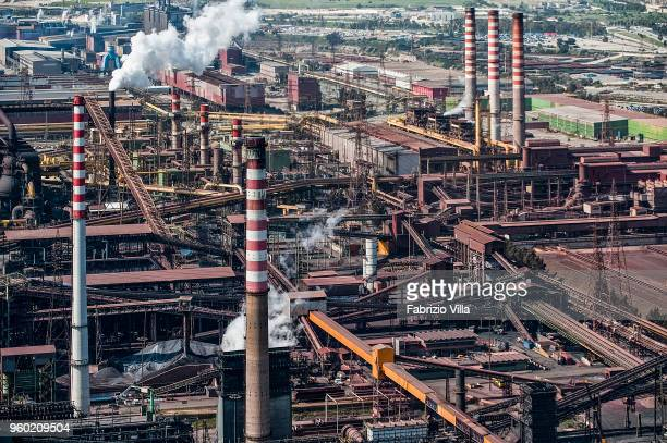 Aerial view of the steelworks Ilva Taranto on April 9 2013 in Taranto Italy The system causes a strong environmental pollution and is seized by order...