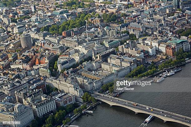 aerial view of the strand and waterloo bridge - holborn stock pictures, royalty-free photos & images
