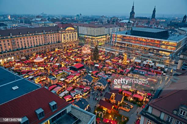Aerial view of the 'Striezelmarket' in the center of Dresden