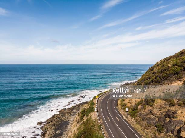 aerial view of the stunning great ocean road in south australia - victoria australia stock pictures, royalty-free photos & images